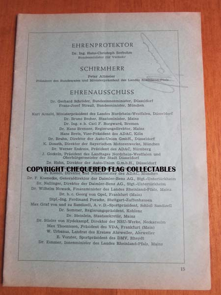 Giuseppe Farina signed program page from 1955 German race meeting