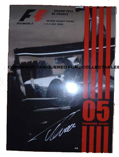 French 2005 GP program signed by Fernando Alonso