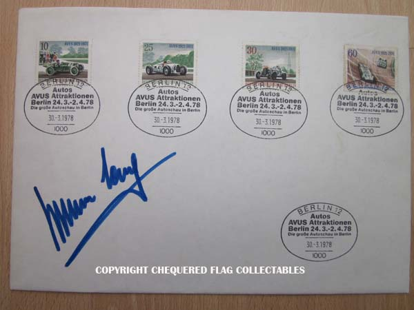 Hermann Lang signed 50th anniversary AVUS commemorative envelope